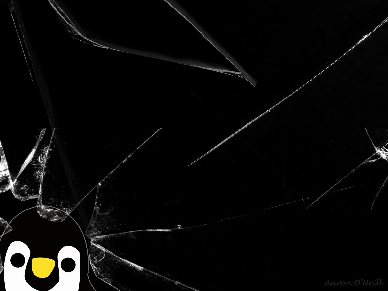 Penguin Through Cracked Glass Wallpaper